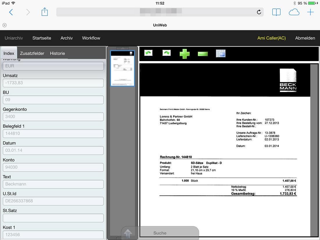 Uniweb mobile Version - BDV Branchen-Daten-Verarbeitung