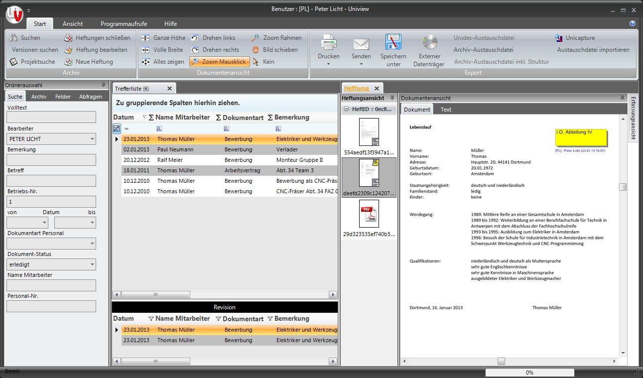 Dokumentenmanagement; Uniarchiv; UniView - BDV Branchen-Daten-Verarbeitung